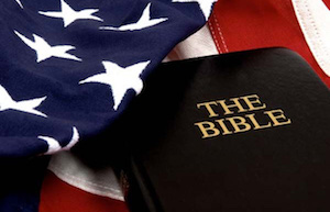 Bible on top of American flag