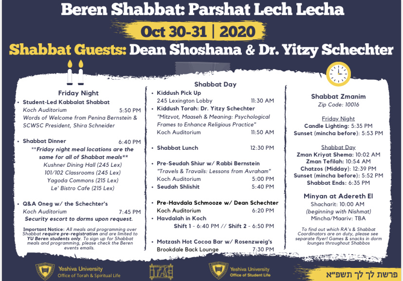 Shabbat On Campus Schedule