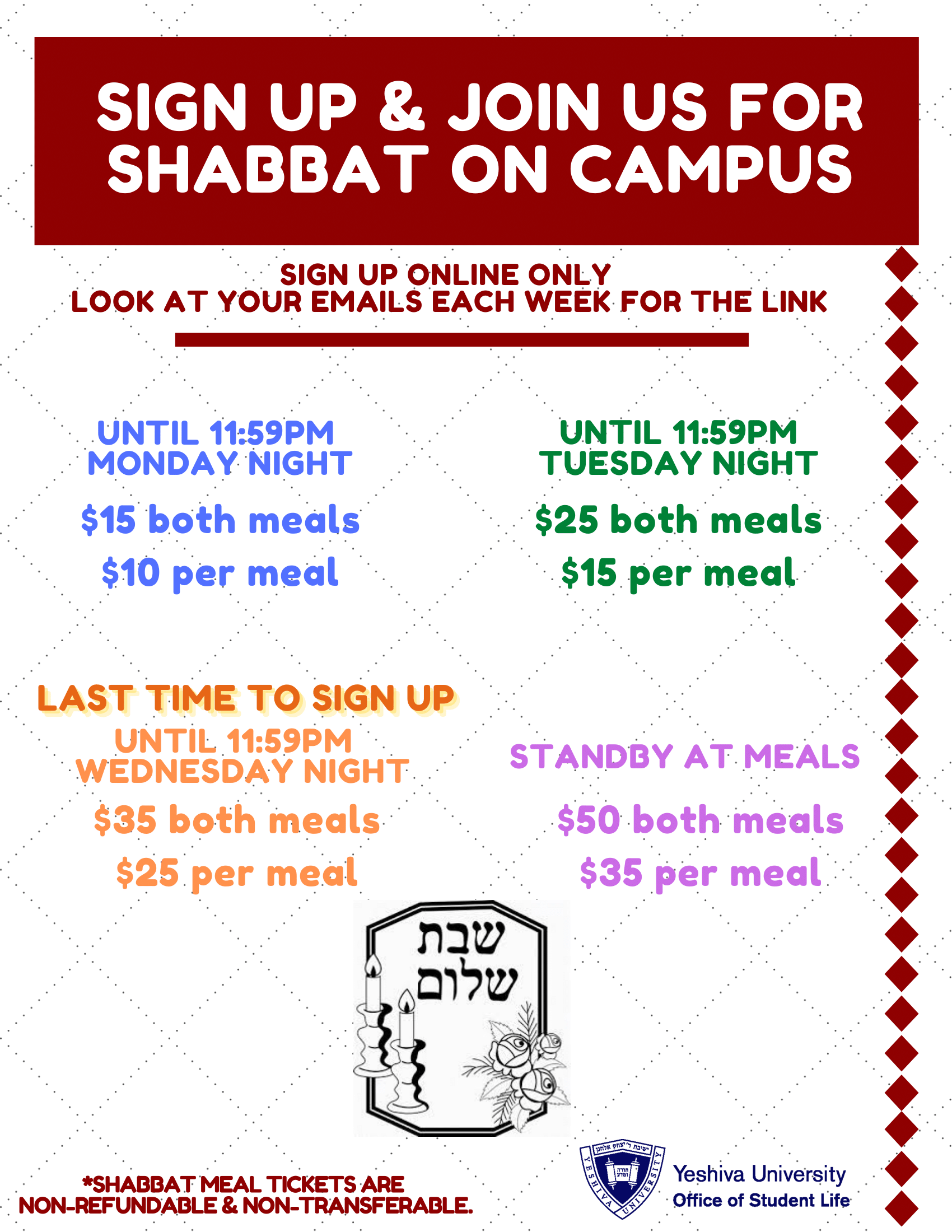 Shabbat Pricing Flyer
