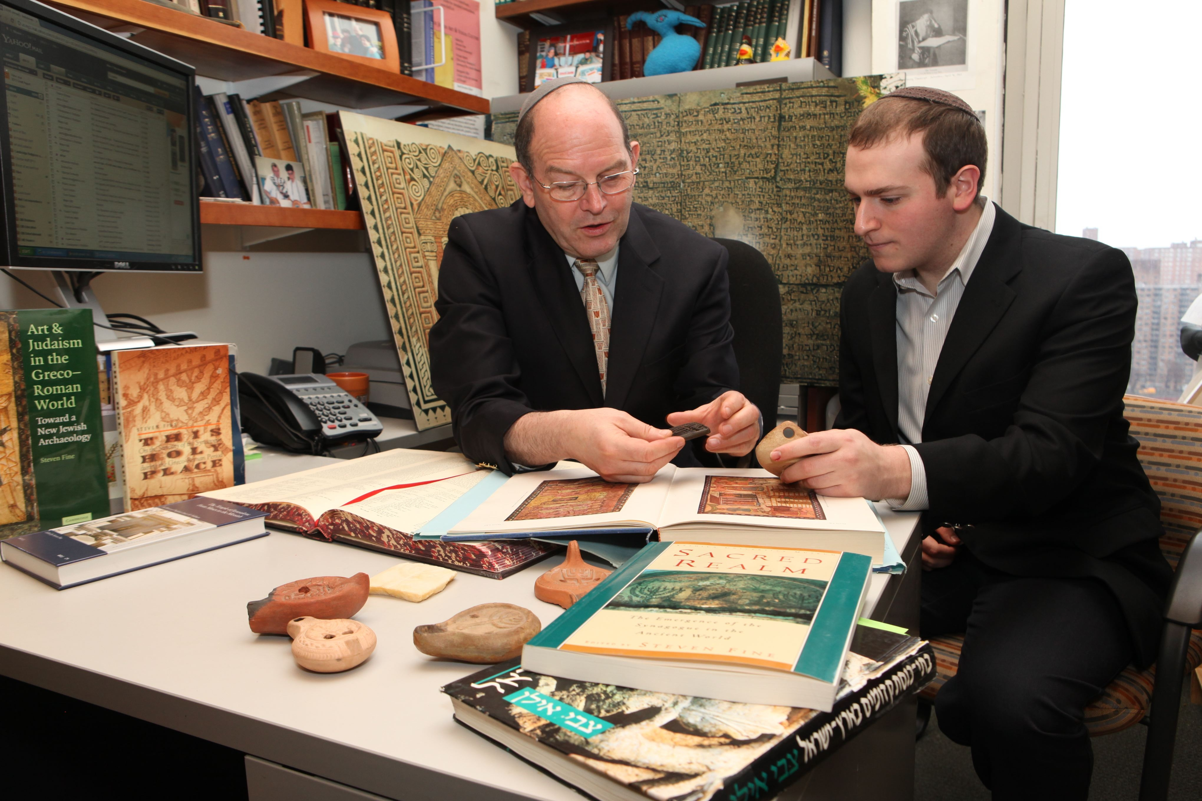 Yeshiva University Professor Steven Fine with a Revel student