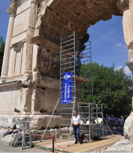 The Team's scaffolding inside the Arch of Titus