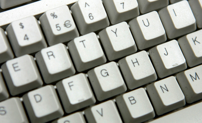 A keyboard conveying social work information/resources at your fingertips