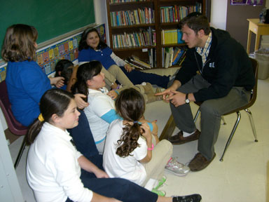 An Azrieli student in a classroom with students