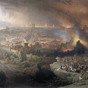 Painting of an ancient city with smoke and flames