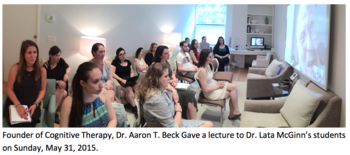 Dr. Aaron Beck giving lecture to Dr. Lata McGinn's students
