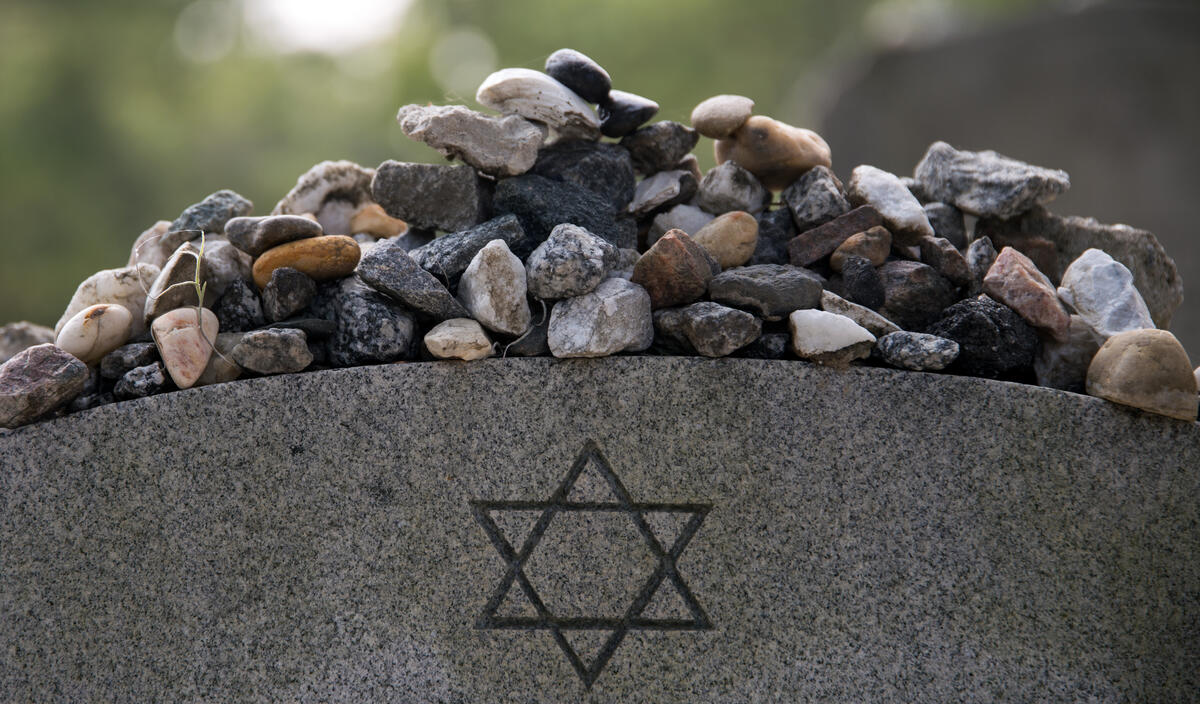 Jewish grave with rocks on top