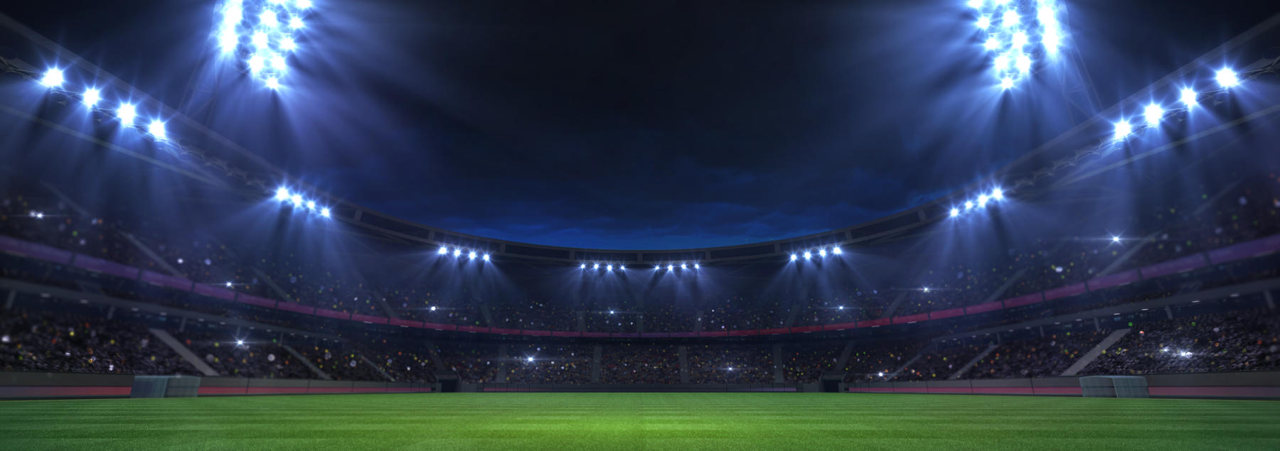 Lit up football field