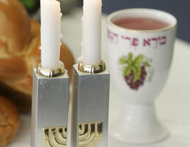 Shabbat candles and wine